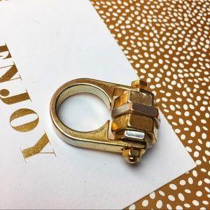Nut Bolt Gold Metal Ring Size 6